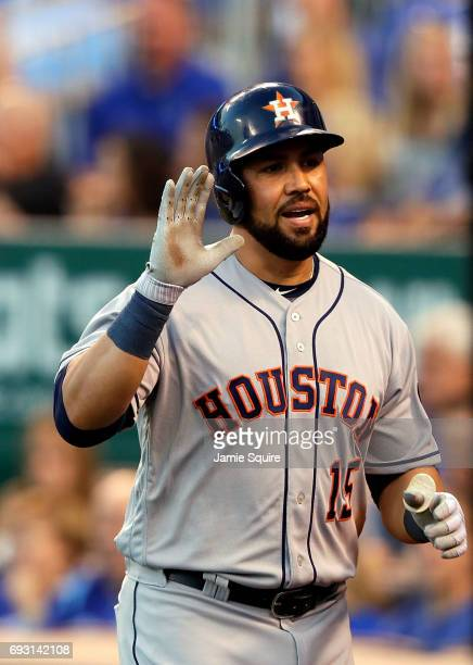 Carlos Beltran of the Houston Astros reacts after hitting a tworun home run during the 4th inning of the game against the Kansas City Royals at...
