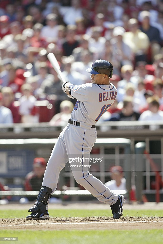 Carlos Beltran #15 of the New York Mets bats at the Great American Ballpark on April 4, 2005 in Cincinnati, Ohio. The Reds defeated the Mets 7 - 6.