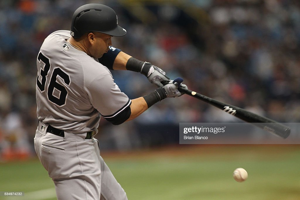 Carlos Beltran #36 of the New York Yankees grounds into the double play during the first inning of a game against the Tampa Bay Rays on May 28, 2016 at Tropicana Field in St. Petersburg, Florida.
