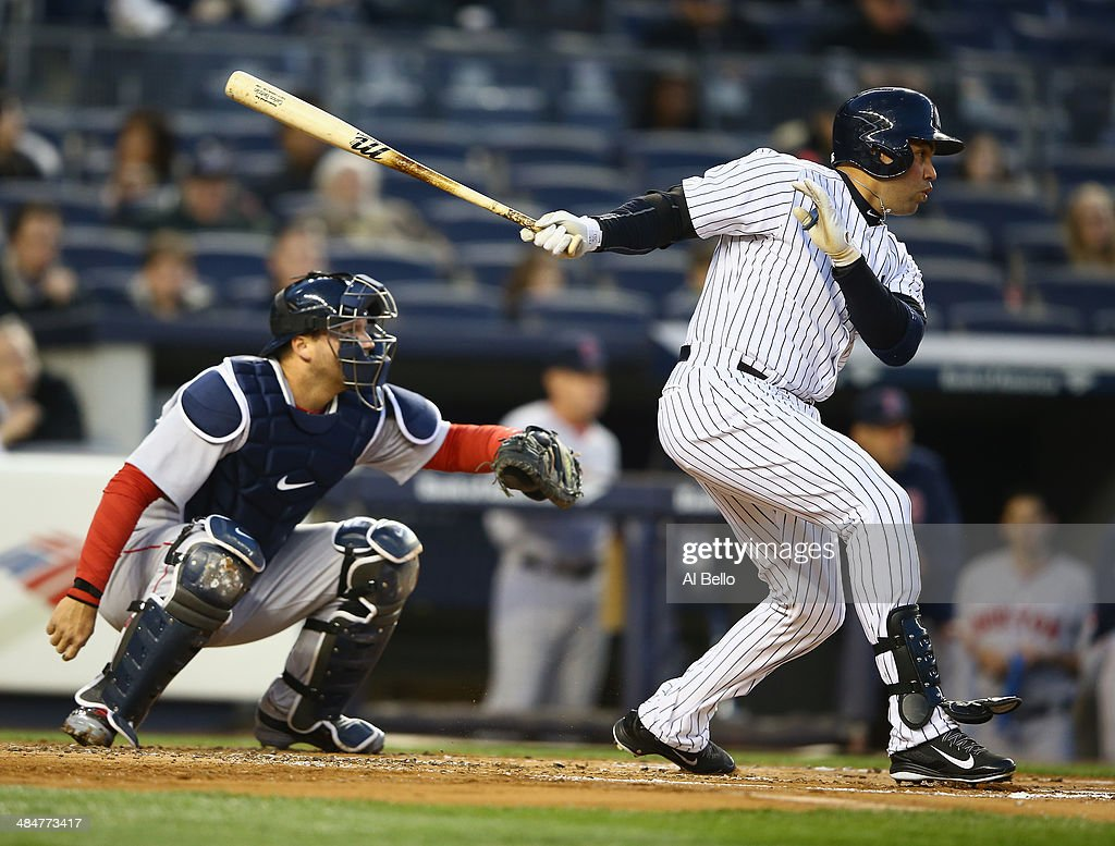 Carlos Beltran #36 of the New York Yankees in action against the Boston Red Sox during their game at Yankee Stadium on April 10, 2014 in the Bronx borough of New York City.