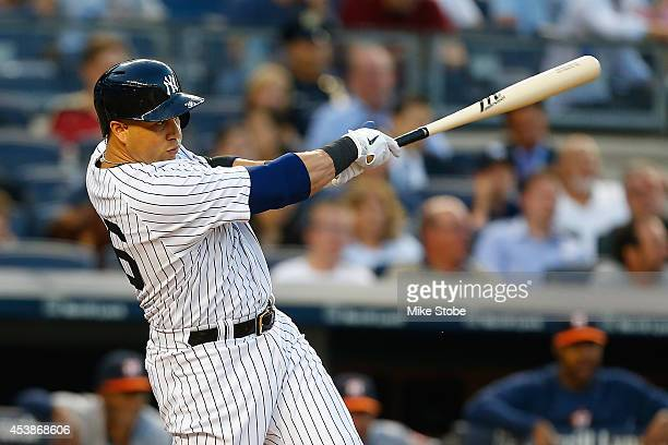 Carlos Beltran of the New York Yankees in action against the Houston Astros at Yankee Stadium on August 19 2014 in the Bronx borough of New York City...