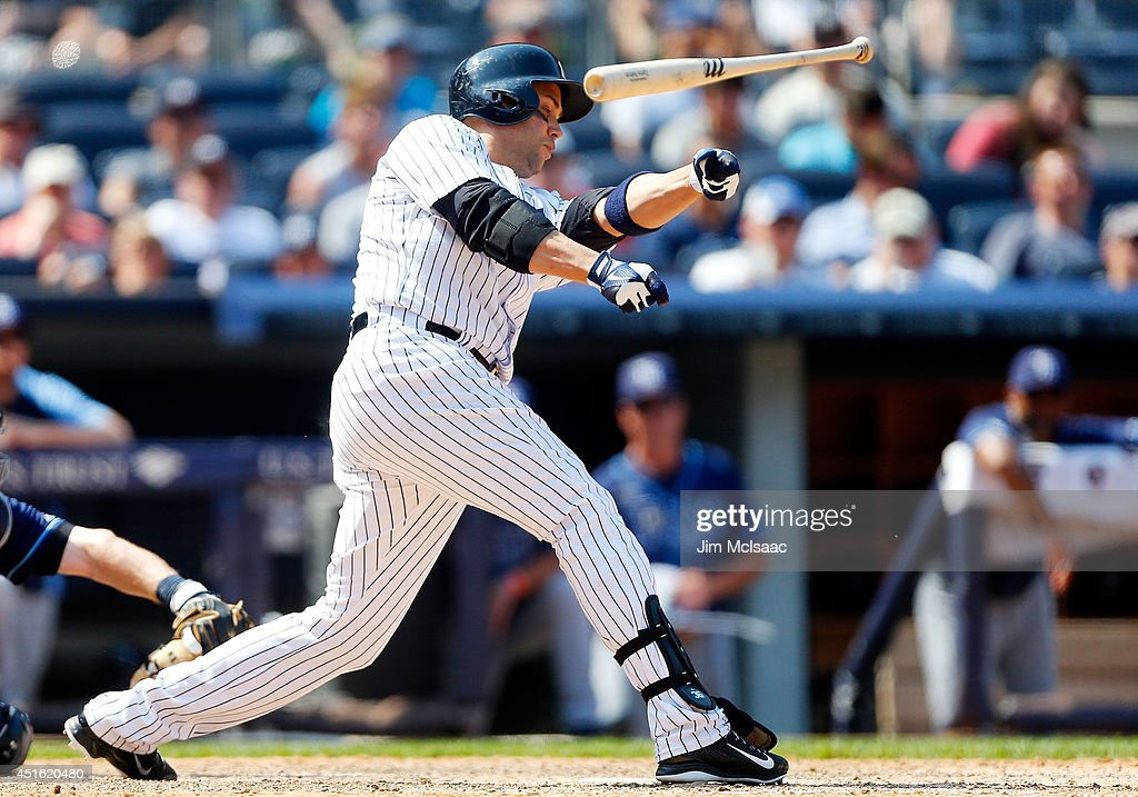<a gi-track='captionPersonalityLinkClicked' href=/galleries/search?phrase=Carlos+Beltran&family=editorial&specificpeople=167108 ng-click='$event.stopPropagation()'>Carlos Beltran</a> #36 of the New York Yankees loses his bat as he strikes out in the seventh inning against the Tampa Bay Rays at Yankee Stadium on July 2, 2014 in the Bronx borough of New York City.