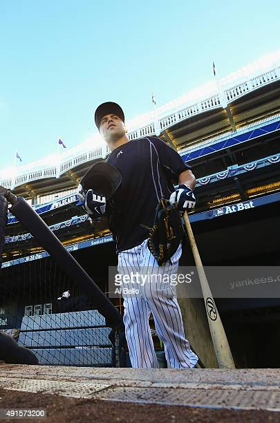 Carlos Beltran of the New York Yankees steps onto the field to take batting practice before the game against the Houston Astros before the American...
