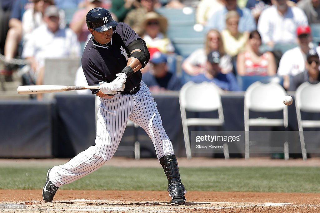 <a gi-track='captionPersonalityLinkClicked' href=/galleries/search?phrase=Carlos+Beltran&family=editorial&specificpeople=167108 ng-click='$event.stopPropagation()'>Carlos Beltran</a> #36 of the New York Yankees swings at a pitch in the first inning of a game against the Boston Red Sox at George M. Steinbrenner Field on March 18, 2014 in Tampa, Florida.
