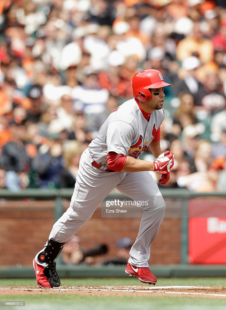 <a gi-track='captionPersonalityLinkClicked' href=/galleries/search?phrase=Carlos+Beltran&family=editorial&specificpeople=167108 ng-click='$event.stopPropagation()'>Carlos Beltran</a> #3 of the St. Louis Cardinals bats against the San Francisco Giants at AT&T Park on April 6, 2013 in San Francisco, California.
