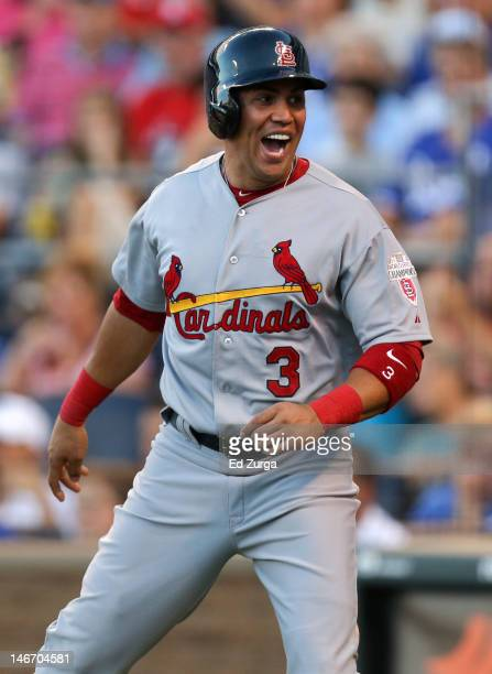 Carlos Beltran of the St Louis Cardinals celebrate after scoring on a David Freese double during an interleague game against the Kansas City Royals...
