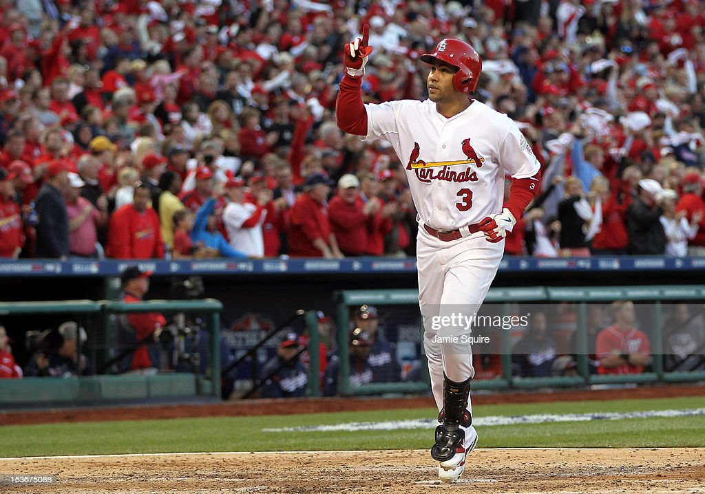 <a gi-track='captionPersonalityLinkClicked' href=/galleries/search?phrase=Carlos+Beltran&family=editorial&specificpeople=167108 ng-click='$event.stopPropagation()'>Carlos Beltran</a> #3 of the St. Louis Cardinals celebrates after hitting home run in the sixth inning against the Washington Nationals during Game Two of the National League Division Series at Busch Stadium on October 8, 2012 in St Louis, Missouri.