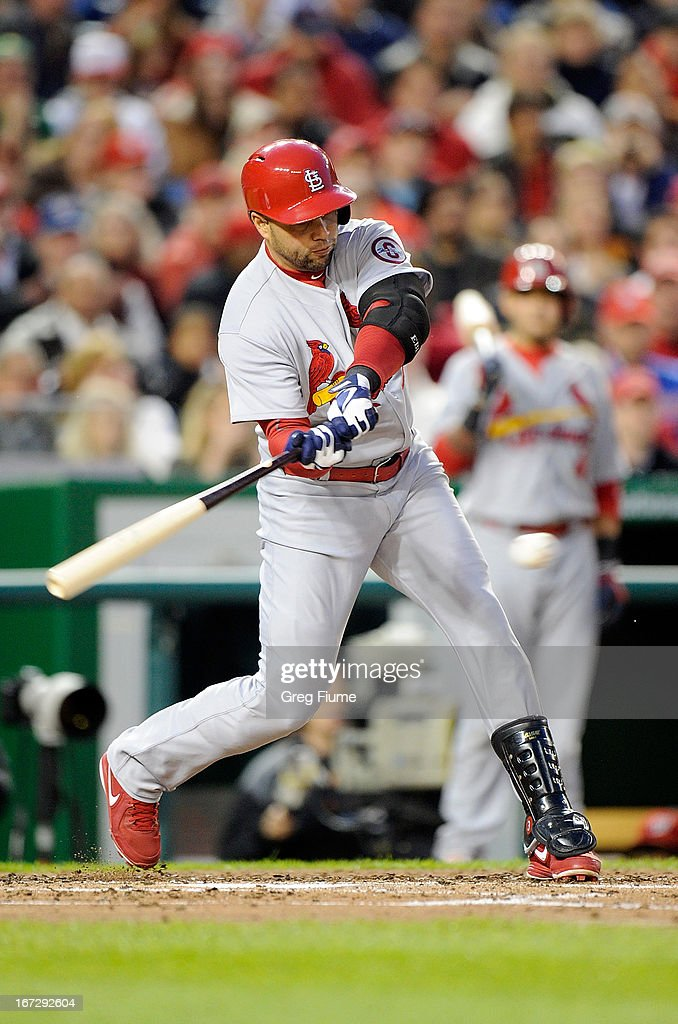 <a gi-track='captionPersonalityLinkClicked' href=/galleries/search?phrase=Carlos+Beltran&family=editorial&specificpeople=167108 ng-click='$event.stopPropagation()'>Carlos Beltran</a> #3 of the St. Louis Cardinals hits a single in the fourth inning against the Washington Nationals at Nationals Park on April 23, 2013 in Washington, DC.