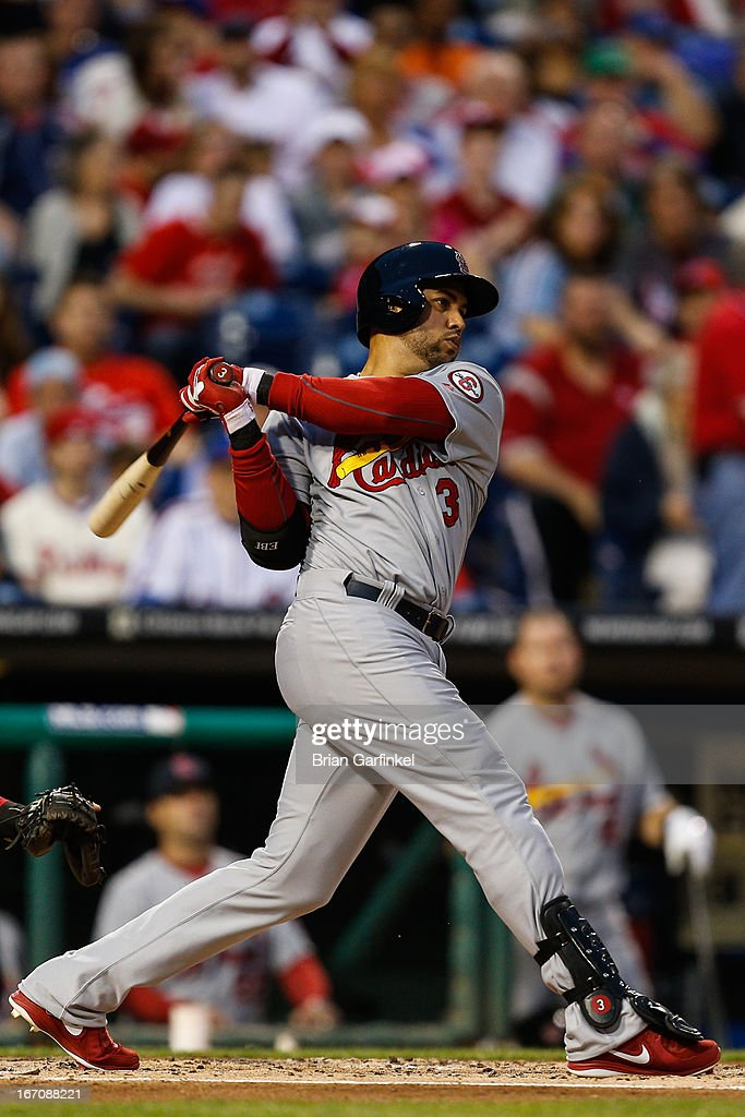 <a gi-track='captionPersonalityLinkClicked' href=/galleries/search?phrase=Carlos+Beltran&family=editorial&specificpeople=167108 ng-click='$event.stopPropagation()'>Carlos Beltran</a> #3 of the St. Louis Cardinals looks on after hitting a home run in the second inning of the the game against the Philadelphia Phillies at Citizens Bank Park on April 19, 2013 in Philadelphia, Pennsylvania.