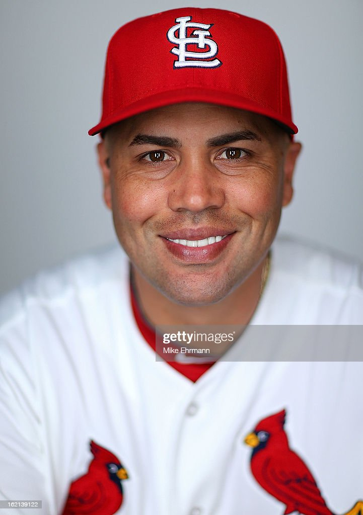 Carlos Beltran #3 of the St. Louis Cardinals poses during photo day at Roger Dean Stadium on February 19, 2013 in Jupiter, Florida.