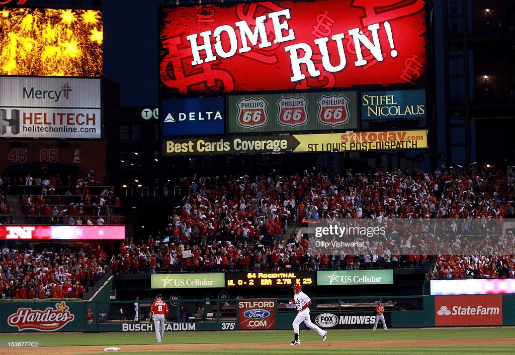 <a gi-track='captionPersonalityLinkClicked' href=/galleries/search?phrase=Carlos+Beltran&family=editorial&specificpeople=167108 ng-click='$event.stopPropagation()'>Carlos Beltran</a> #3 of the St. Louis Cardinals rounds the bases after hitting a two-run home run in the eighth inning against the Washington Nationals during Game Two of the National League Division Series at Busch Stadium on October 8, 2012 in St Louis, Missouri.