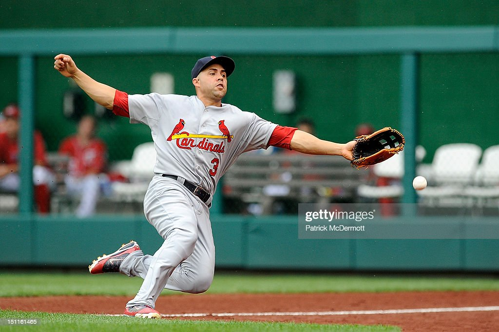<a gi-track='captionPersonalityLinkClicked' href=/galleries/search?phrase=Carlos+Beltran&family=editorial&specificpeople=167108 ng-click='$event.stopPropagation()'>Carlos Beltran</a> #3 of the St. Louis Cardinals tries to catch a foul by hit by Ian Desmond #20 of the Washington Nationals in the seventh inning against the St. Louis Cardinals at Nationals Park on September 2, 2012 in Washington, DC.
