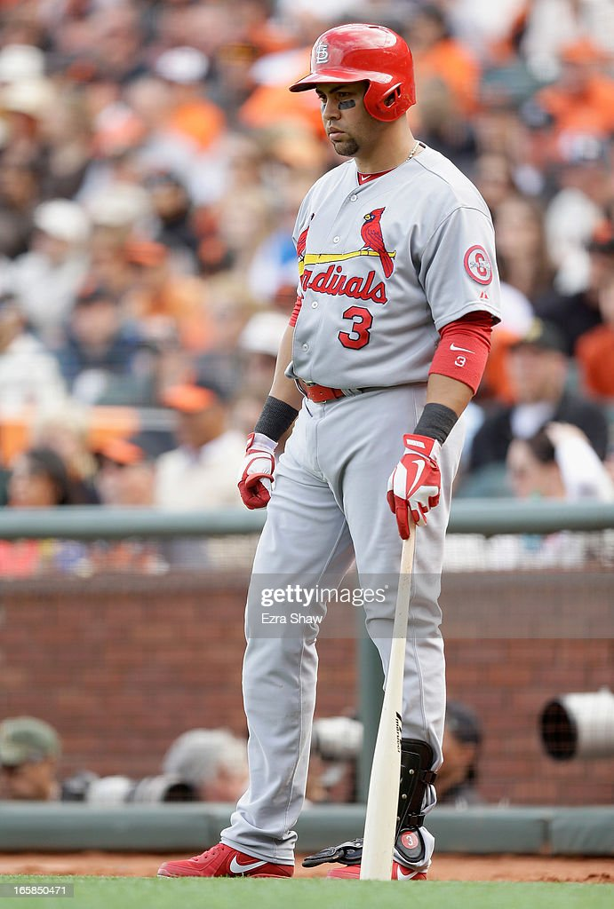 <a gi-track='captionPersonalityLinkClicked' href=/galleries/search?phrase=Carlos+Beltran&family=editorial&specificpeople=167108 ng-click='$event.stopPropagation()'>Carlos Beltran</a> #3 of the St. Louis Cardinals waits to bat against the San Francisco Giants at AT&T Park on April 5, 2013 in San Francisco, California.