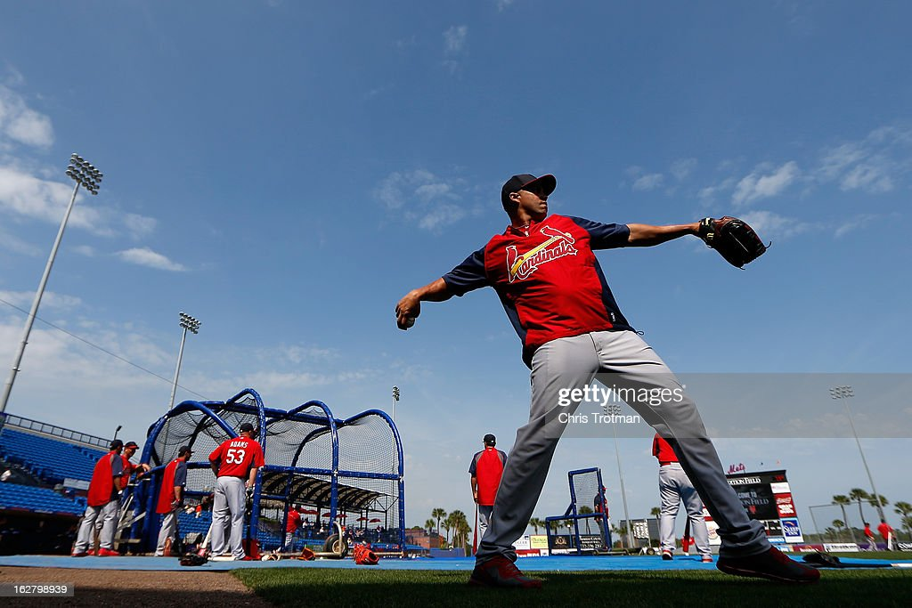 Carlos Beltran #3 of the St. Louis Cardinals warms up during batting practice prior to the game against the New York Mets at Tradition Field on February 27, 2013 in Port St. Lucie, Florida.