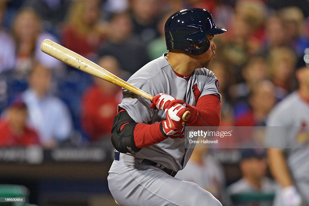 <a gi-track='captionPersonalityLinkClicked' href=/galleries/search?phrase=Carlos+Beltran&family=editorial&specificpeople=167108 ng-click='$event.stopPropagation()'>Carlos Beltran</a> #3 of the St. Louis Cardinals watches the ball leave the park for a home run and go ahead run in the eighth inning during the game against the Philadelphia Phillies at Citizens Bank Park on April 18, 2013 in Philadelphia, Pennsylvania. The Cardinals won 4-3.