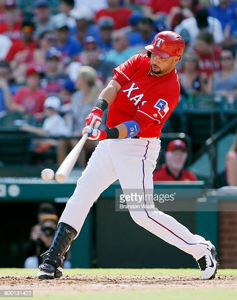Carlos Beltran of the Texas Rangers hits during a baseball game against the Houston Astros at Globe Life Park in Arlington on September 3 2016 in...