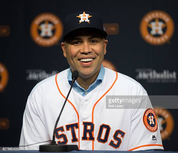 Carlos Beltran speaks to media during a press conference after agreeing to terms on a oneyear deal with the Houston Astros on December 5 2016 in...