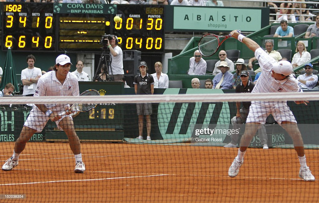 <a gi-track='captionPersonalityLinkClicked' href=/galleries/search?phrase=Carlos+Berlocq&family=editorial&specificpeople=553854 ng-click='$event.stopPropagation()'>Carlos Berlocq</a> and Eduardo Shuank of Argentina in action during the match between Argentina and Czech Republic as part of the second day of the Davis Cup Semi-final at Mary Tern de Weiss Stadium on September 15, 2012 in Buenos Aires, Argentina.