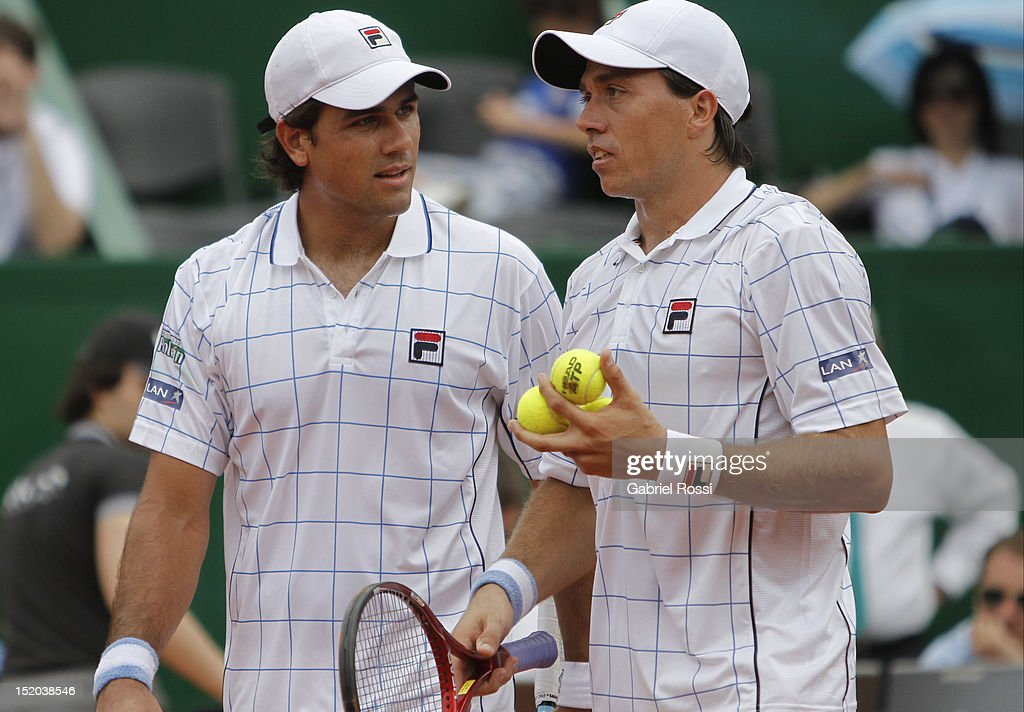 <a gi-track='captionPersonalityLinkClicked' href=/galleries/search?phrase=Carlos+Berlocq&family=editorial&specificpeople=553854 ng-click='$event.stopPropagation()'>Carlos Berlocq</a> (R) and Eduardo Shuank of Argentina speak during the match between Argentina and Czech Republic as part of the second day of the Davis Cup Semi-final at Mary Tern de Weiss Stadium on September 15, 2012 in Buenos Aires, Argentina.
