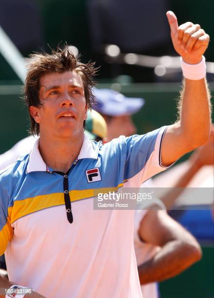 Carlos Berlocq celebrates after defeating Philipp Kohlschreiber in the opening match of the series between Argentina and Germany in the first round...