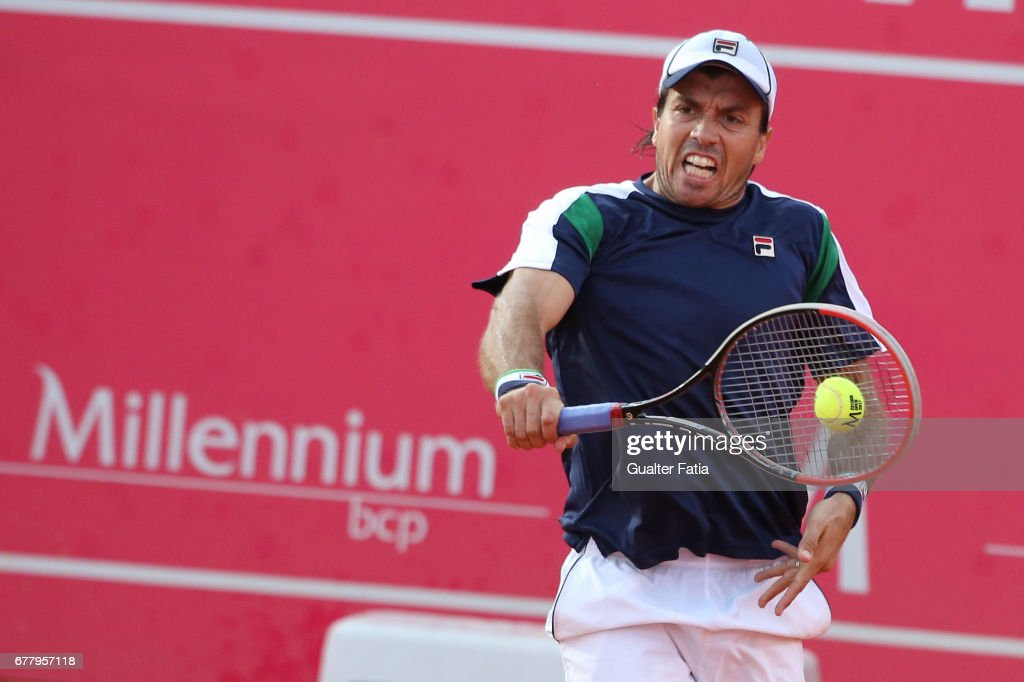 Carlos Berlocq in action during the match between Carlos Berlocq from Argentina and Richard Gasquet from France for Millennium Estoril Open at Clube de Tenis do Estoril on May 3, 2017 in Estoril, Portugal.