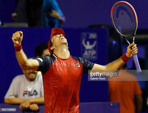 Carlos Berlocq of Argentina celebrates after wining the second round match between David Ferrer of Spain and Carlos Berlocq of Argentina as part of...