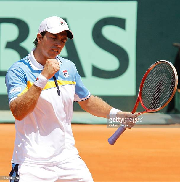 Carlos Berlocq of Argentina celebrates during the first match of the series between Argentina and Germany in the first round of Davis Cup at Parque...