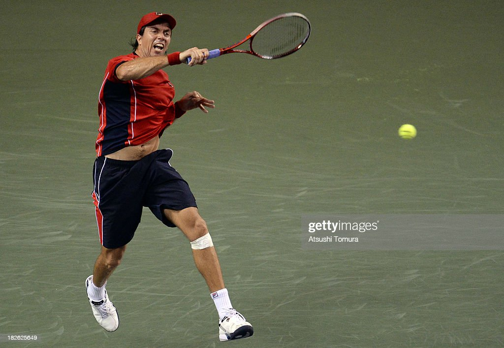 <a gi-track='captionPersonalityLinkClicked' href=/galleries/search?phrase=Carlos+Berlocq&family=editorial&specificpeople=553854 ng-click='$event.stopPropagation()'>Carlos Berlocq</a> of Argentina in action during his men's first round match against Juan Martin Del Potro of Argentina during day three of the Rakuten Open at Ariake Colosseum on October 2, 2013 in Tokyo, Japan.