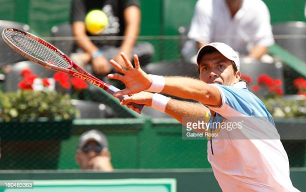 Carlos Berlocq of Argentina in action during the first match of the series between Argentina and Germany in the first round of Davis Cup at Parque...