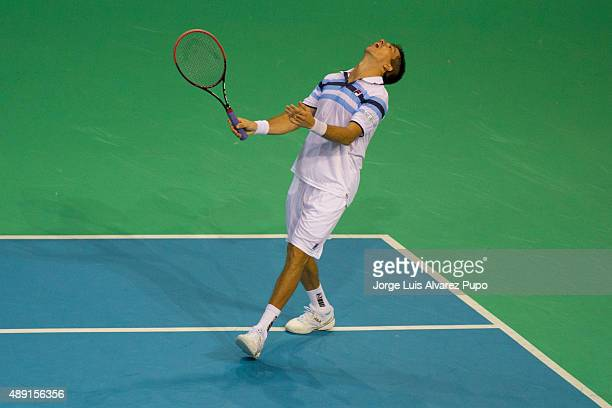 Carlos Berlocq of Argentina reacts during the doubles match between Ruben Bemelmans/ Steve Darcis and Leonardo Mayer/ Carlos Berlocq on Day 2 of The...