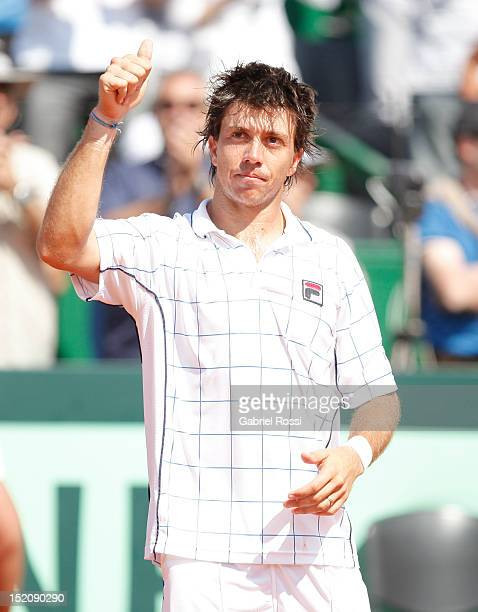 Carlos Berloq of Argentina greets the crowd after the match between Argentina and Czech Republic as part of the third day of the Davis Cup Semifinal...