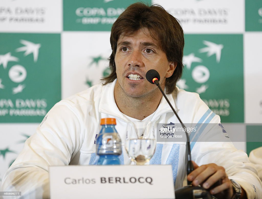 Carlos Berloq of Argentina talks during a press conference as part of the Copa Davis Draw between Argentina and Italy at NH Hotel on January 30, 2014 in Buenos Aires, Argentina.