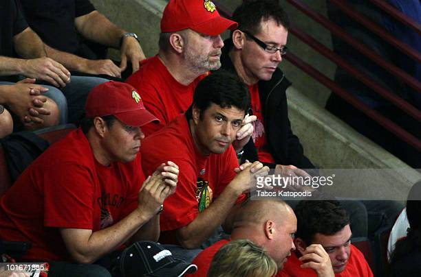 Carlos Bernard attends game 5 of the National Hockey League Stanley Cup finals at United Center on June 6 2010 in Chicago Illinois