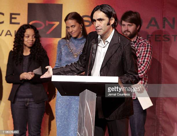 Carlos Bolado with Caran Hartsfield Lucia Cedron and Dagur Kari winners of the Sundance/NHK International Filmmakers Award