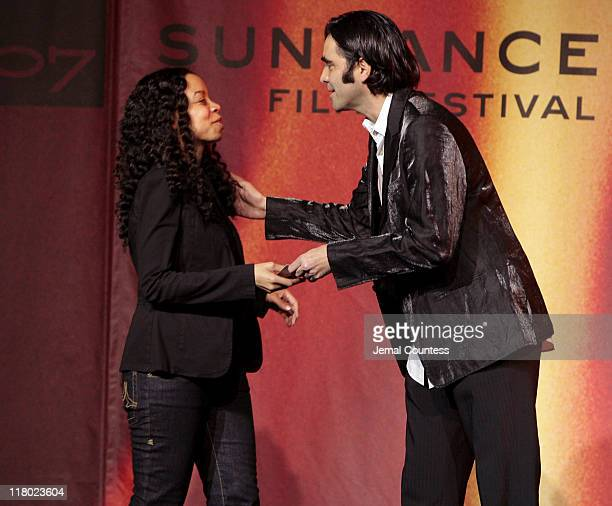 Carlos Bolado with Caran Hartsfield winner of the Sundance/NHK International Filmmakers Award