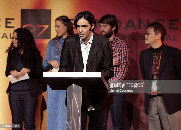 Carlos Bolado with Tomoko Kana Caran Hartsfield Lucia Cedron and Dagur Kari winners of the Sundance/NHK International Filmmakers Award