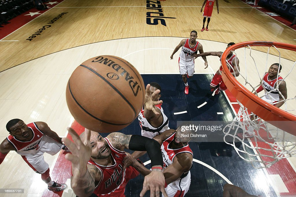 <a gi-track='captionPersonalityLinkClicked' href=/galleries/search?phrase=Carlos+Boozer&family=editorial&specificpeople=201638 ng-click='$event.stopPropagation()'>Carlos Boozer</a> #5 of the Chicago Bulls drives to the basket against the Washington Wizards at the Verizon Center on April 2, 2013 in Washington, DC.