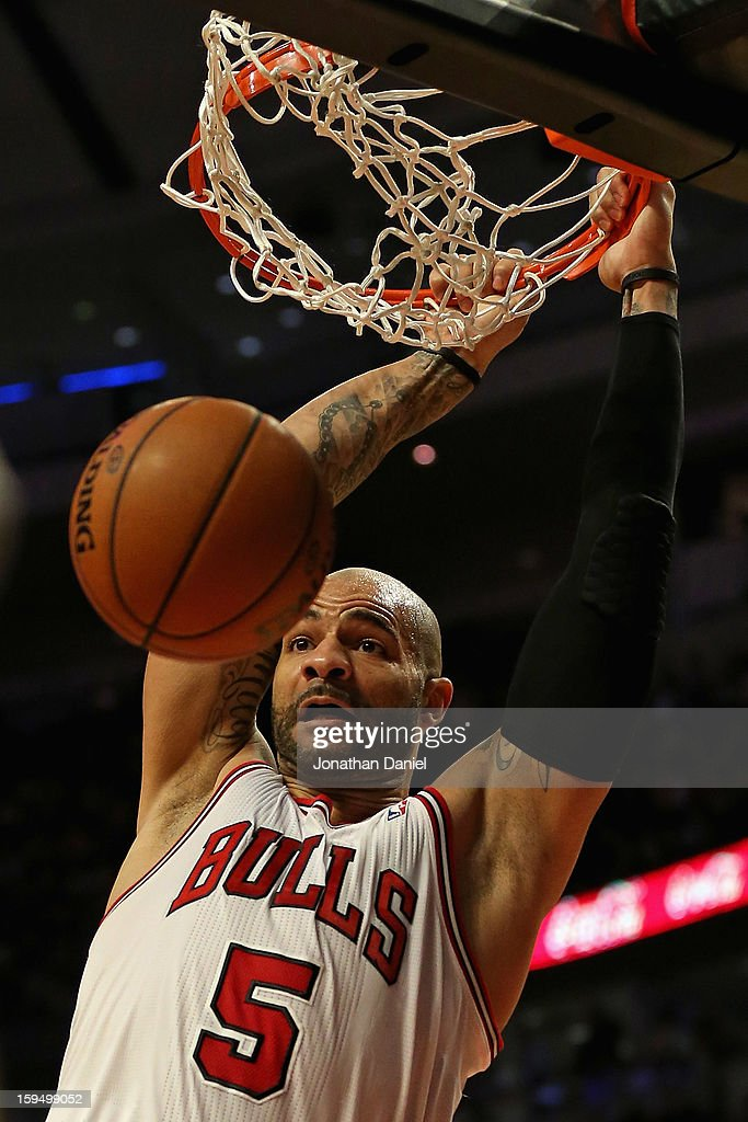 Carlos Boozer #5 of the Chicago Bulls dunks against the Los Angeles Clippers at the United Center on December 11, 2012 in Chicago, Illinois. The Clippers defeated the Bulls 94-89.