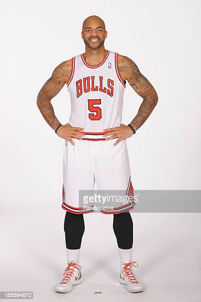 Carlos Boozer of the Chicago Bulls poses for a portrait as part of the team's 201213 Media Day on October 1 2012 at the Sheri L Berto Center in...