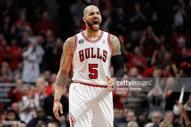 Carlos Boozer of the Chicago Bulls reacts against the Miami Heat in Game One of the Eastern Conference Finals during the 2011 NBA Playoffs on May 15...