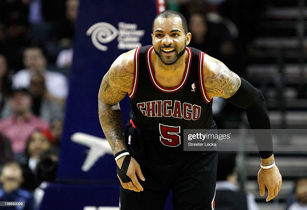 <a gi-track='captionPersonalityLinkClicked' href=/galleries/search?phrase=Carlos+Boozer&family=editorial&specificpeople=201638 ng-click='$event.stopPropagation()'>Carlos Boozer</a> #5 of the Chicago Bulls reacts to a basket against the Charlotte Bobcats during their game at Time Warner Cable Arena on February 10, 2012 in Charlotte, North Carolina.