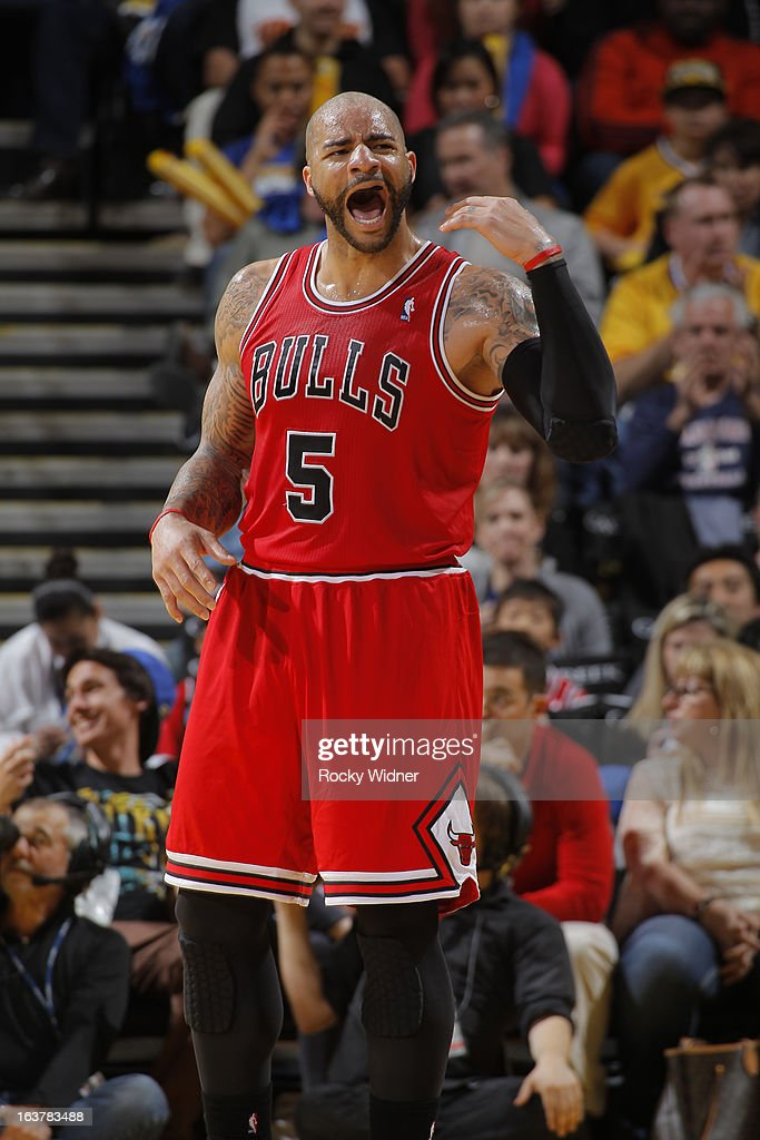 Carlos Boozer #5 of the Chicago Bulls reacts to a call during a game against the Golden State Warriors on March 15, 2013 at Oracle Arena in Oakland, California.