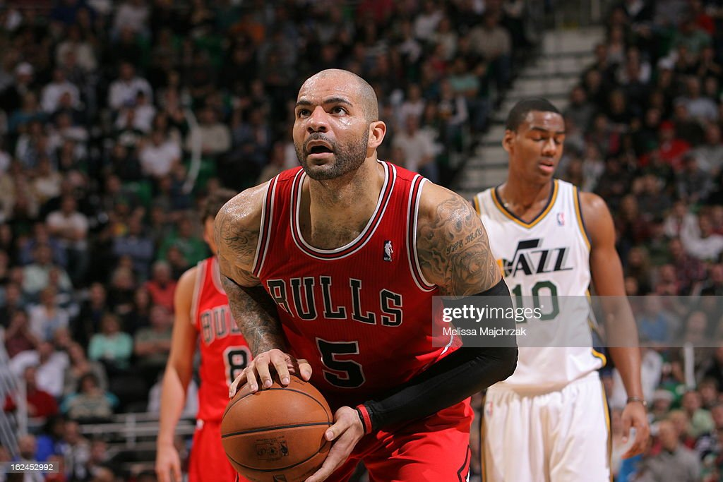 Carlos Boozer #5 of the Chicago Bulls takes a foul shot against the Utah Jazz at Energy Solutions Arena on February 08, 2013 in Salt Lake City, Utah.