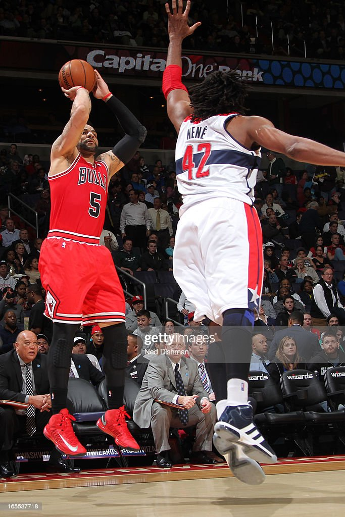 <a gi-track='captionPersonalityLinkClicked' href=/galleries/search?phrase=Carlos+Boozer&family=editorial&specificpeople=201638 ng-click='$event.stopPropagation()'>Carlos Boozer</a> #5 of the Chicago Bulls takes a shot against the Washington Wizards at the Verizon Center on April 2, 2013 in Washington, DC.