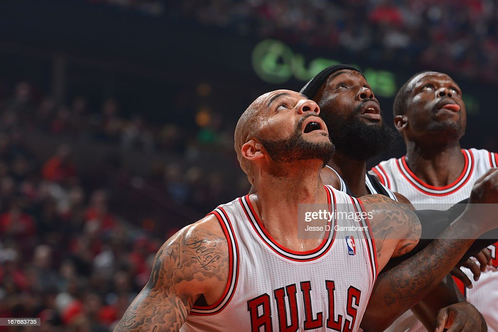 <a gi-track='captionPersonalityLinkClicked' href=/galleries/search?phrase=Carlos+Boozer&family=editorial&specificpeople=201638 ng-click='$event.stopPropagation()'>Carlos Boozer</a> #5 of the Chicago Bulls waits for the rebound against the Brooklyn Nets in Game Four of the Eastern Conference Quarterfinals during the 2013 NBA Playoffs on April 27, 2013 at United Center in Chicago, Illinois.