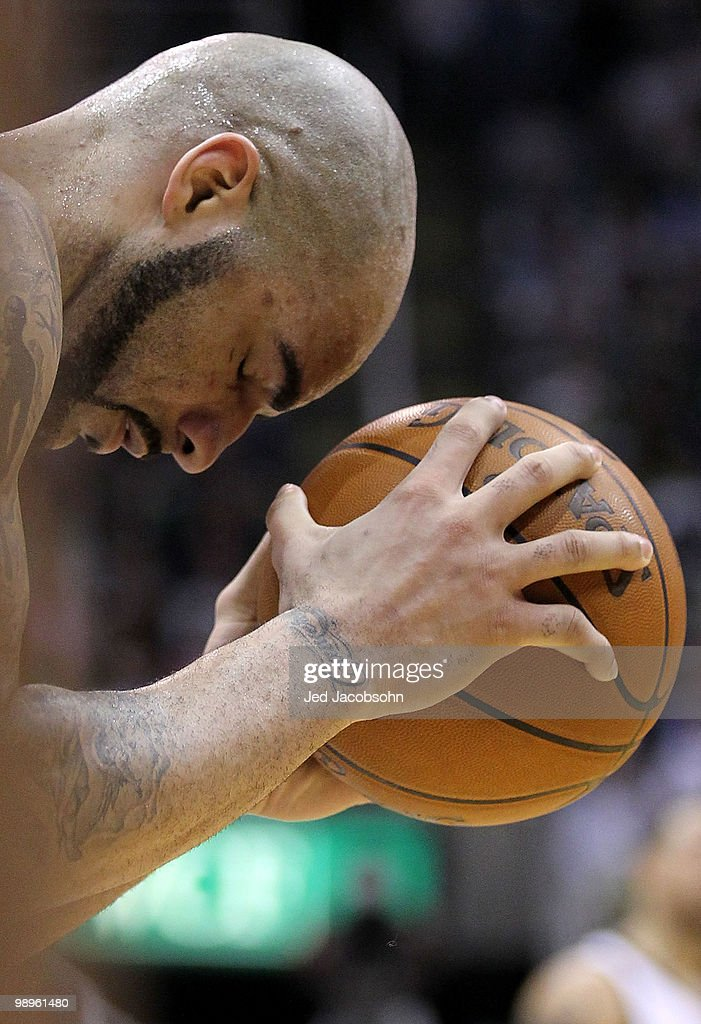 Carlos Boozer #5 of the Utah Jazz reacts to a call against the Los Angeles Lakers during Game Four of the Western Conference Semifinals of the 2010 NBA Playoffs on May 10, 2010 at Energy Solutions Arena in Salt Lake City, Utah.