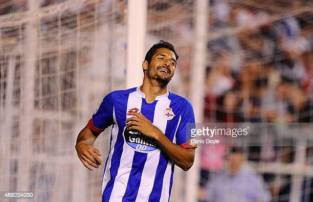 Carlos Borges of RC Deportivo la Coruna reacts during the La Liga match between Rayo Vallecano and RC Deportivo La Coruna at Estadio Teresa Rivero on...