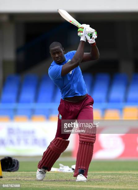 Carlos Brathwaite of the West Indies bats during a nets session at the Sir Vivian Richards Stadium on March 1 2017 in St Johns Antigua