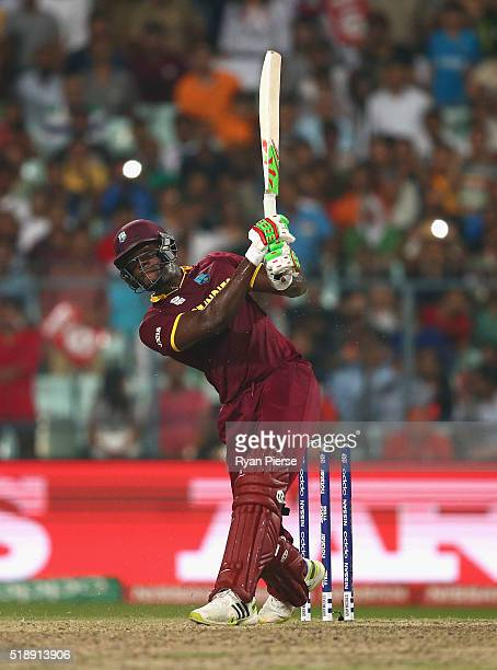 Carlos Brathwaite of the West Indies bats during the ICC World Twenty20 India 2016 Final match between England and West Indies at Eden Gardens on...
