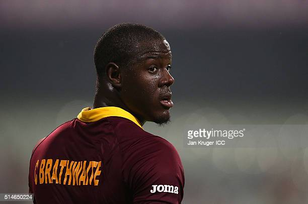Carlos Brathwaite of the West Indies looks on during the ICC World Twenty20 warm up match between India and West Indies at Eden Gardens on March 10...